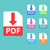 PDF, SVG, DOC, JPG, PSD, AI file formats. Vector icons.