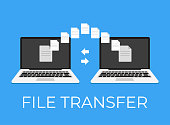 File ftp online wi fi upload transfer between laptop and laptop. Vector flat cartoon icon illustration