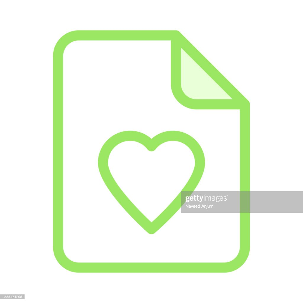 file heart colour line icon