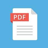 PDF file icon. Flat design graphic illustration. Vector PDF icon