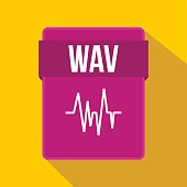 WAV file icon in flat style