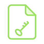 file key colour line vector icon