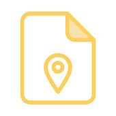 file location colour line vector icon