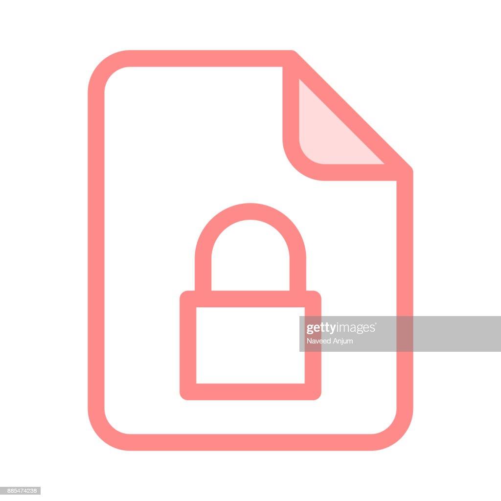 file lock colour line icon