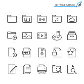 File management line icons. Editable stroke. Pixel perfect.