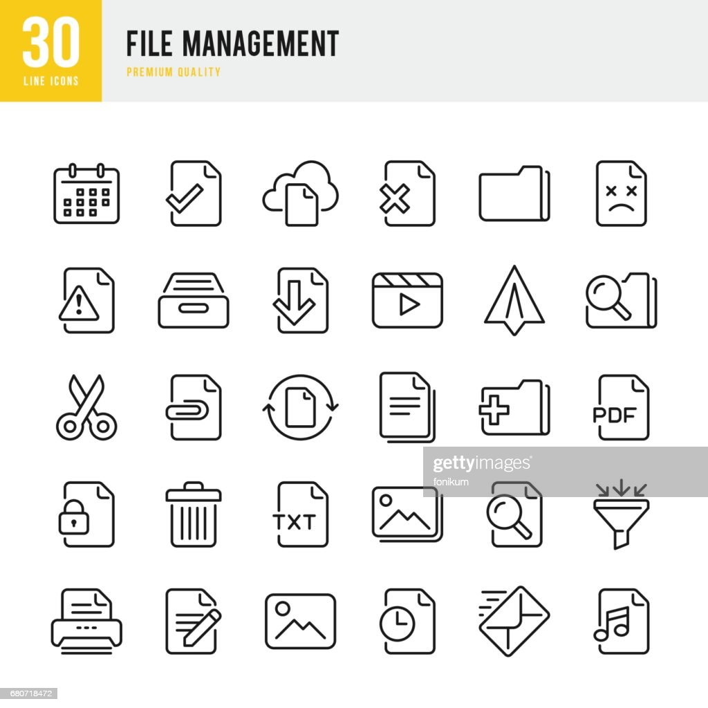 File Management - set of thin line vector icons : stock illustration