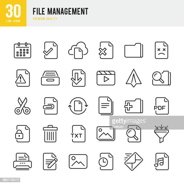 file management - set of thin line vector icons - image technique stock illustrations