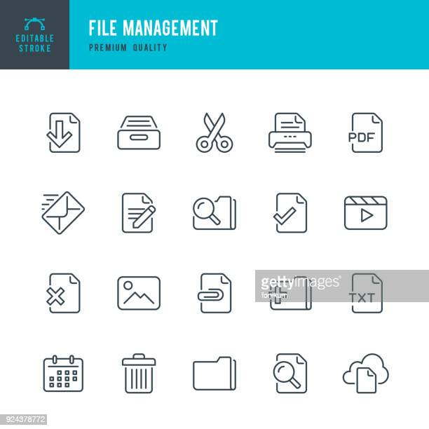 file management - set of thin line vector icons - paperwork stock illustrations
