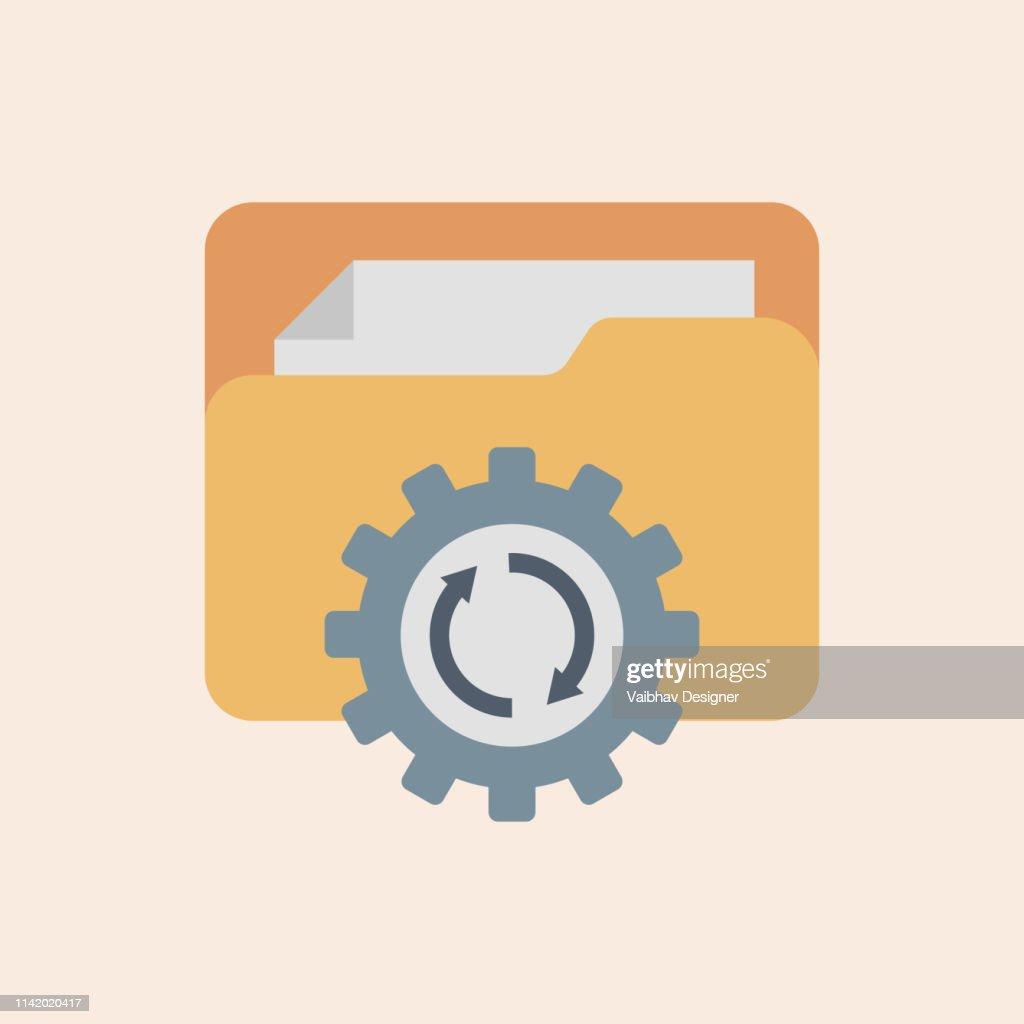 ファイル管理, 更新システムアイコンベクトル.モダンフラットデザインベクターイラスト、アップグレードアプリケーション進捗アイコンの概念図 : ストックイラストレーション