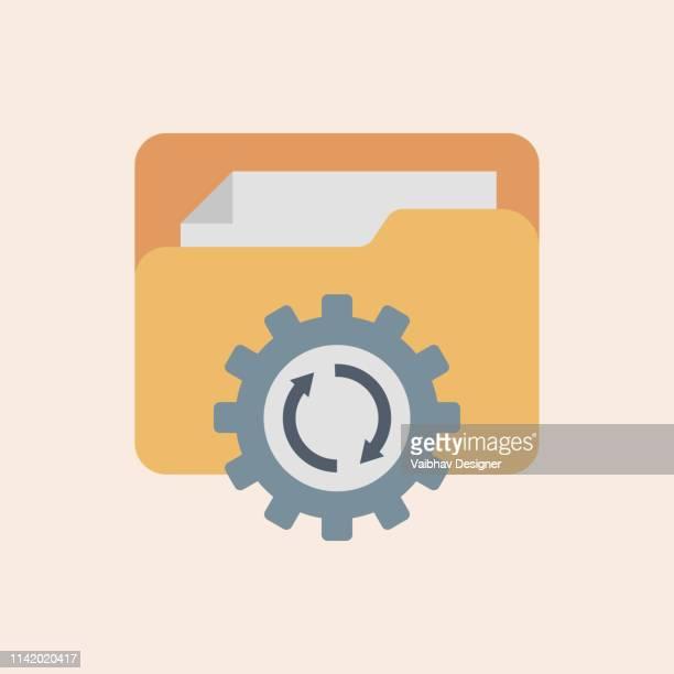 ilustraciones, imágenes clip art, dibujos animados e iconos de stock de file management, actualizar vector de icono del sistema. ilustración de vector de diseño plano moderno, concepto de icono de progreso de aplicación de actualización-ilustración - sistema operativo