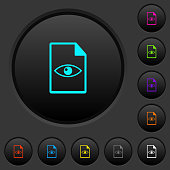 File preview dark push buttons with color icons