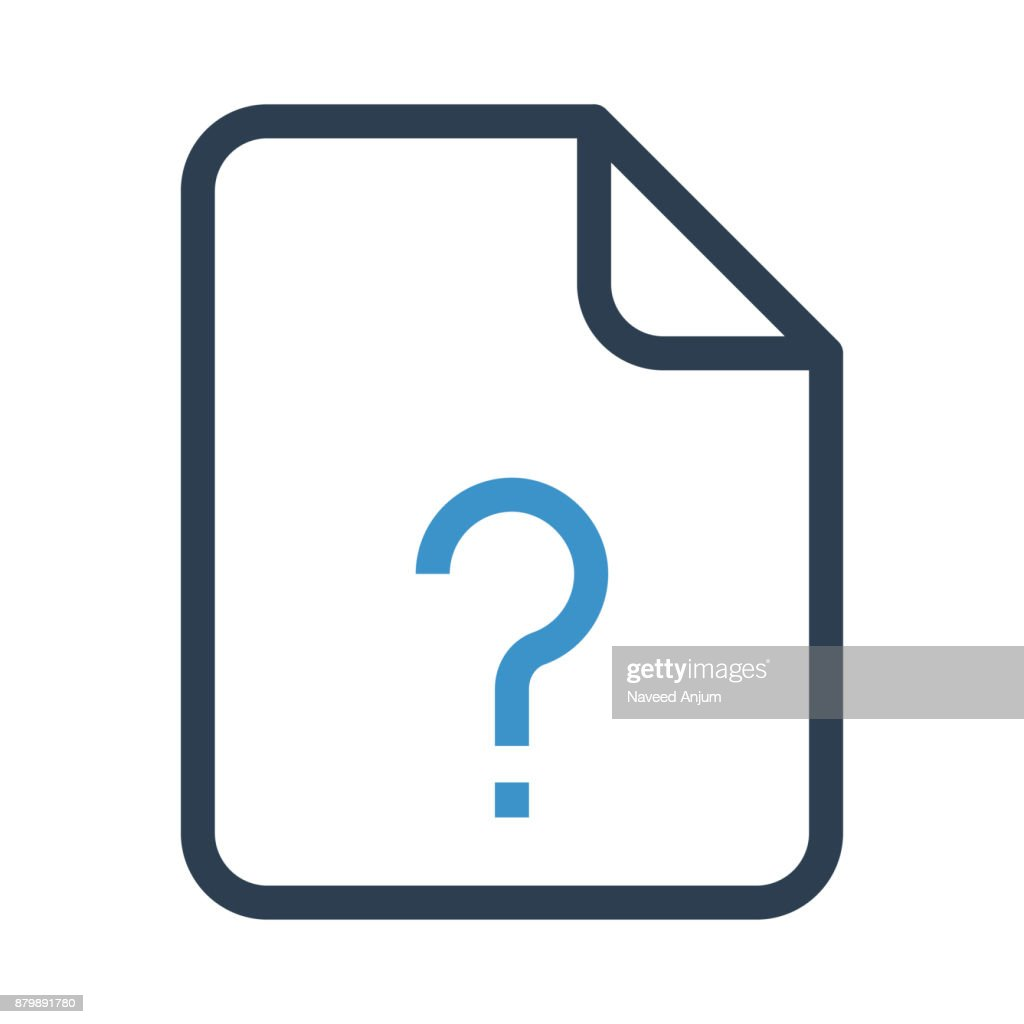 file question mark thin colour line vector icon