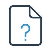 file question mark thin colour line vector icon