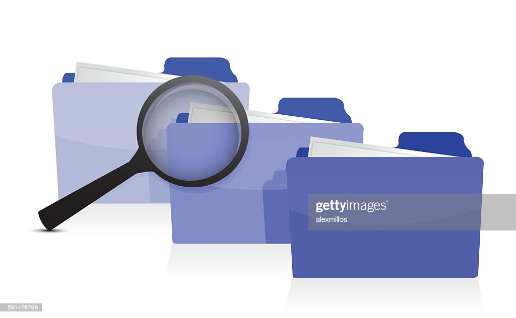 File search concept: folders and magnifying glass illustration d
