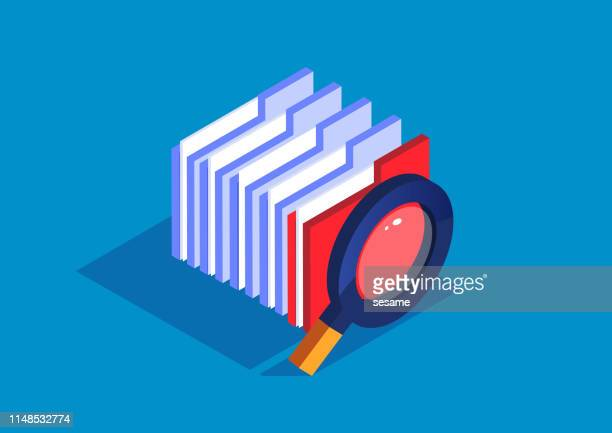 file search, magnifying glass with a bunch of folders - archives stock illustrations