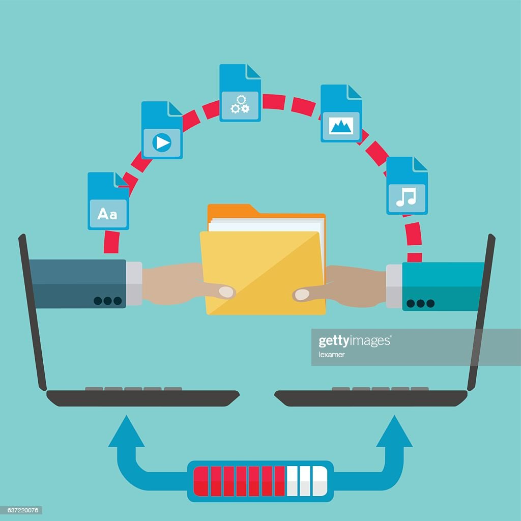 File sharing and transfer vector concept