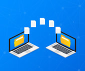 File transfer. laptops with folders on screen and transferred documents. Copy files, data exchange, backup. Vector illustration.