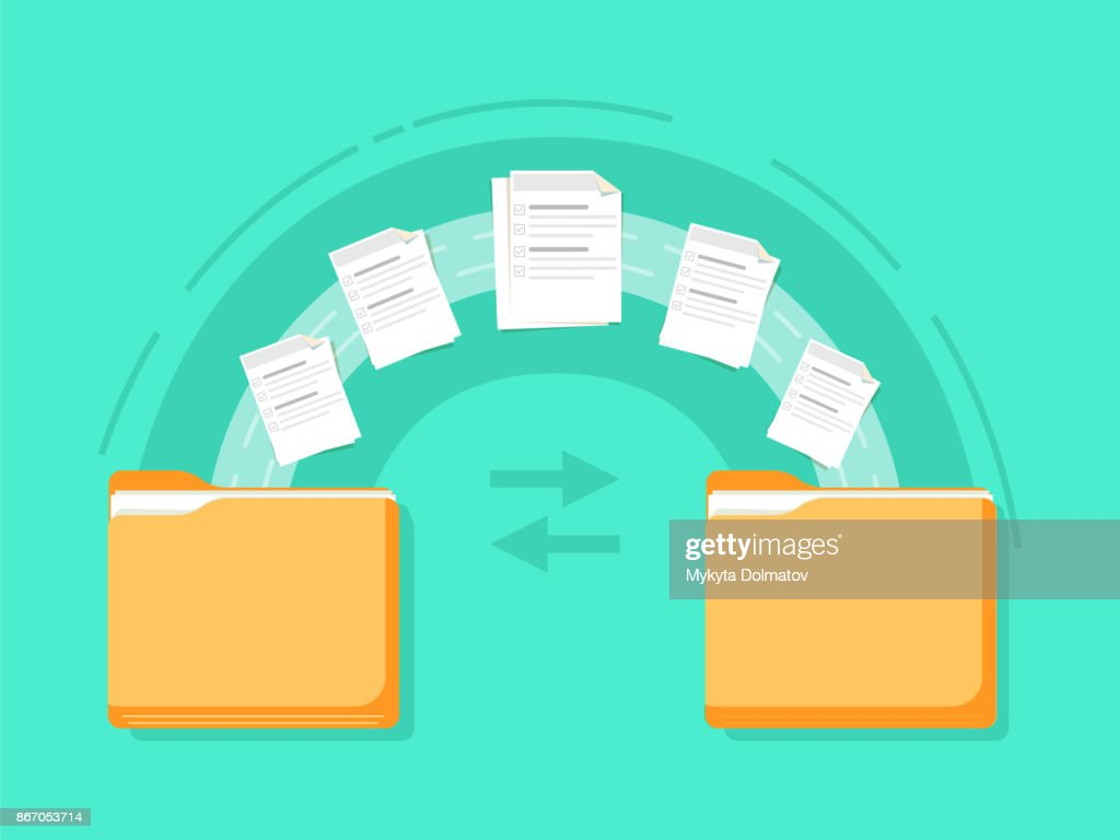File transfer. Two folders transferred documents. Copy files, data exchange, backup, PC migration