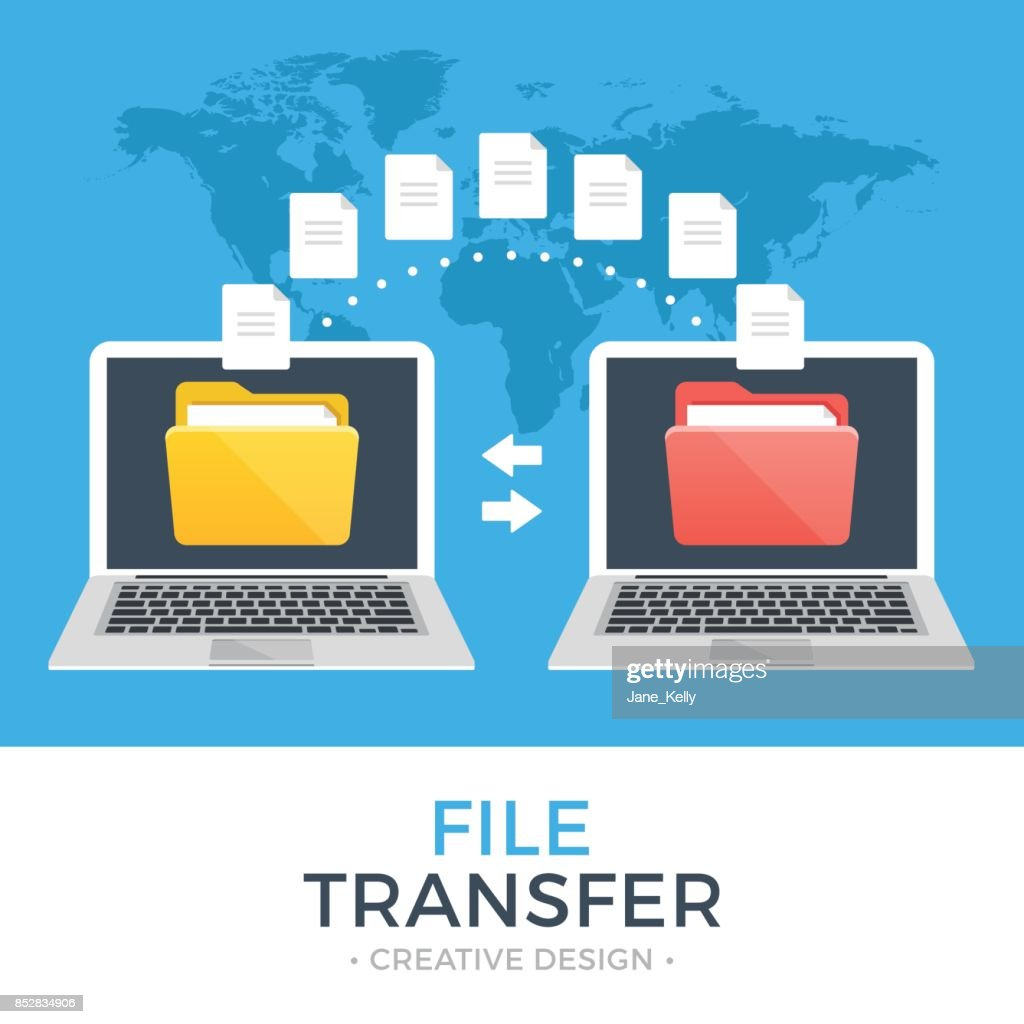 File transfer. Two laptops with folders on screen and transferred documents. Copy files, data exchange, backup, PC migration, file sharing concepts. Flat design vector illustration
