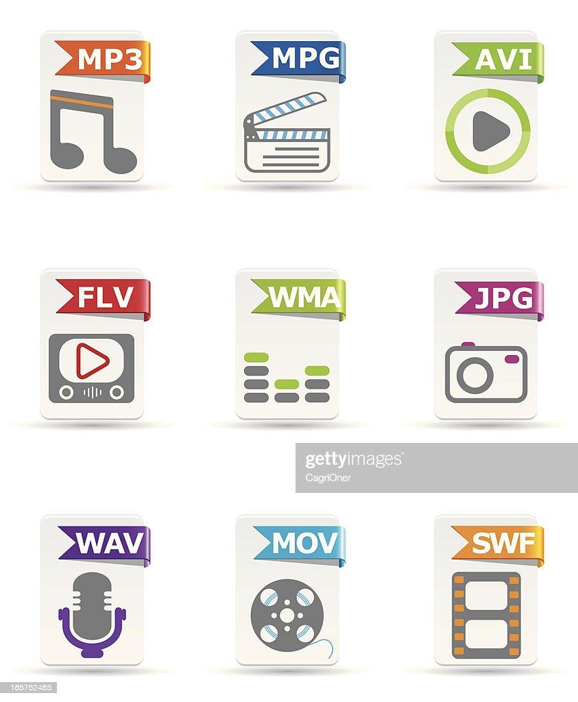 File type icon set: Multimedia