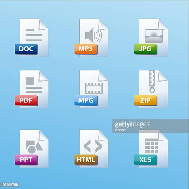 ファイルの種類アイコンセット - ウェブ2.0点のイラスト素材/クリップアート素材/マンガ素材/アイコン素材