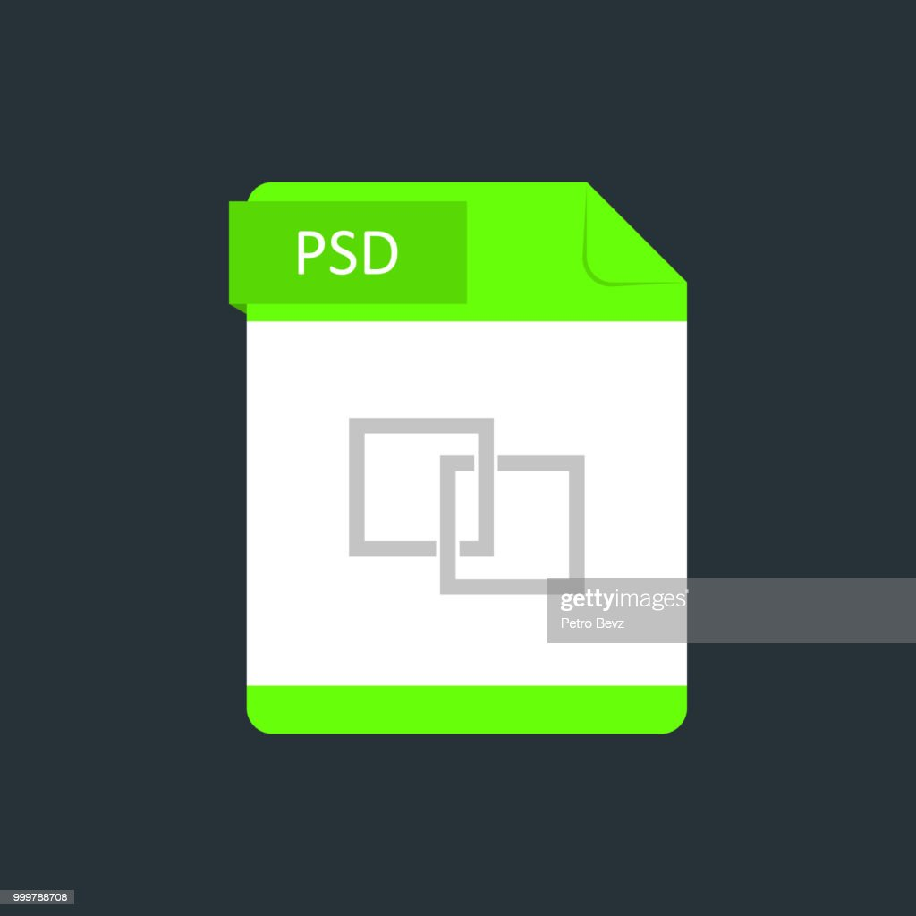 PSD file type icon. Vector illustration isolated on a dark blue background
