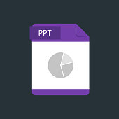 PPT file type icon. Vector illustration isolated on a dark blue background