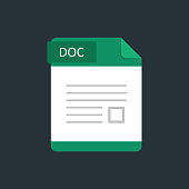 DOC file type icon. Vector illustration isolated on a dark blue background