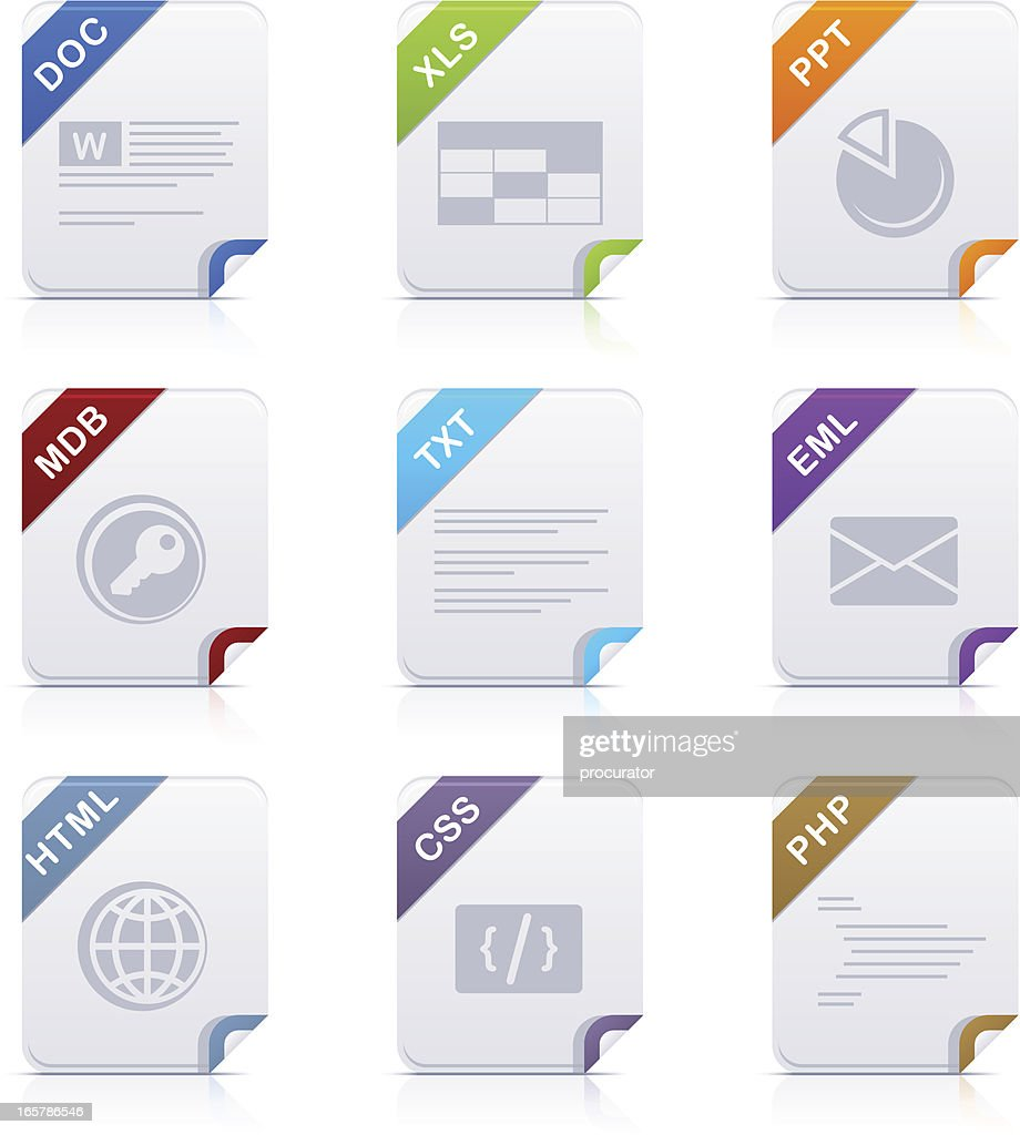 File type icons: Office & Web