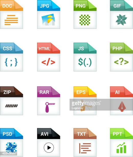 file type icons - html stock illustrations, clip art, cartoons, & icons