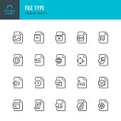 File Type - set of thin line vector icons