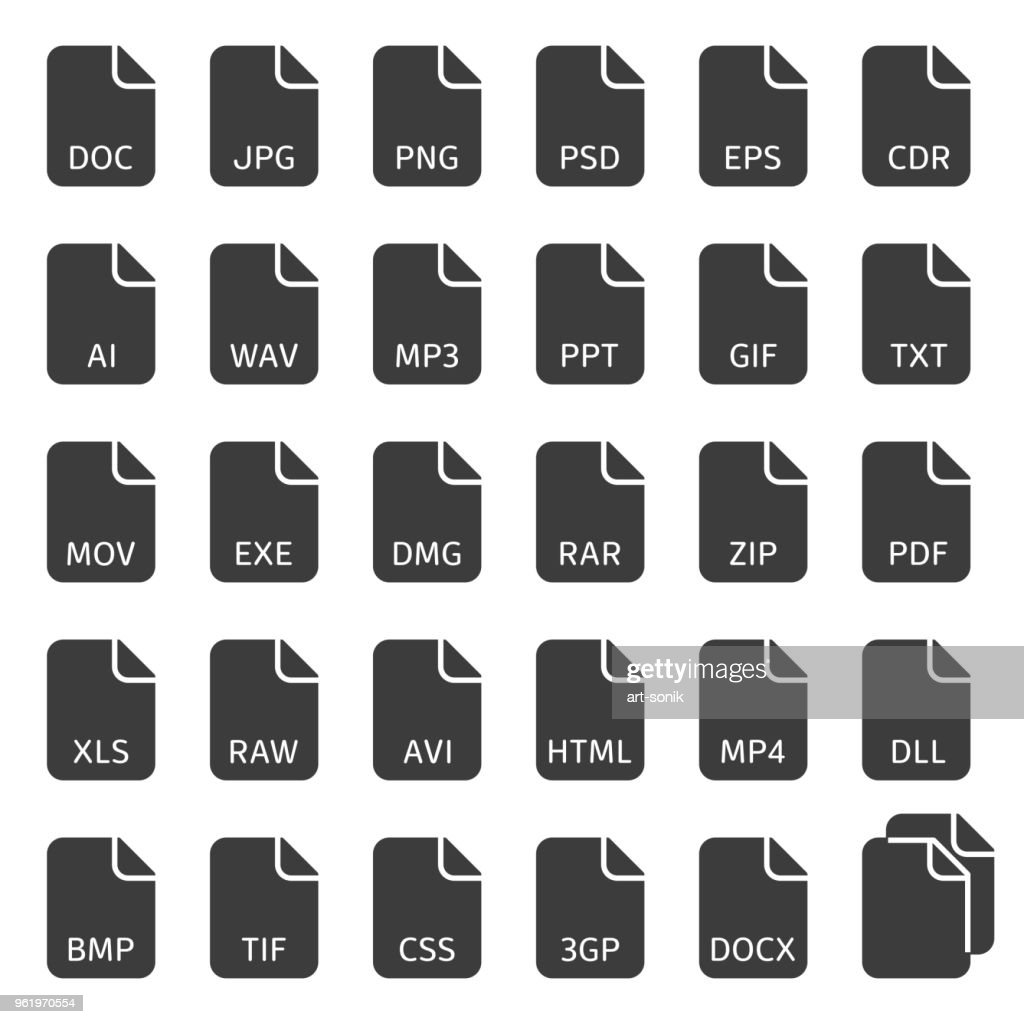 File type vector icons.