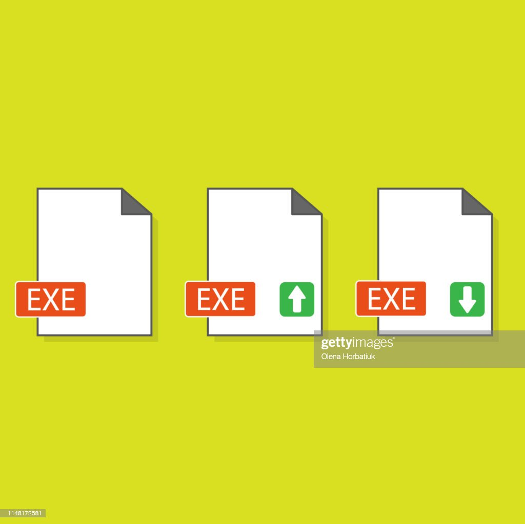 Filename extension icon EXE executable file format created in flat style. The sign depicts a white sheet of paper with a curved corner and a colored rectangle with the name of the file.