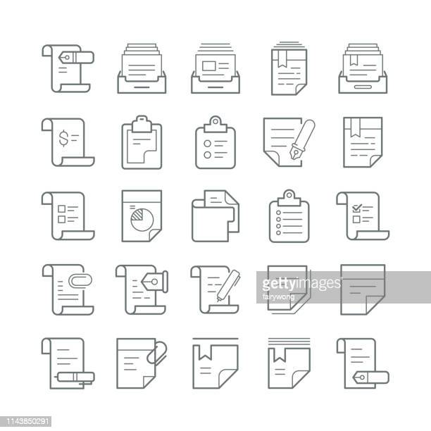 files and documents icons - receipt stock illustrations, clip art, cartoons, & icons