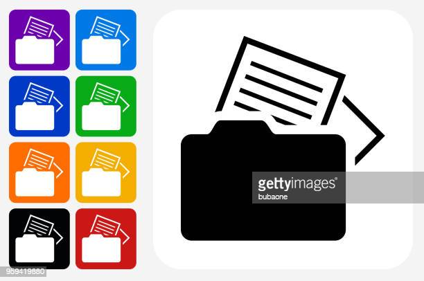 files icon square button set - files stock illustrations, clip art, cartoons, & icons