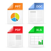 Filetype format icons - ppt, doc, pdf, xls
