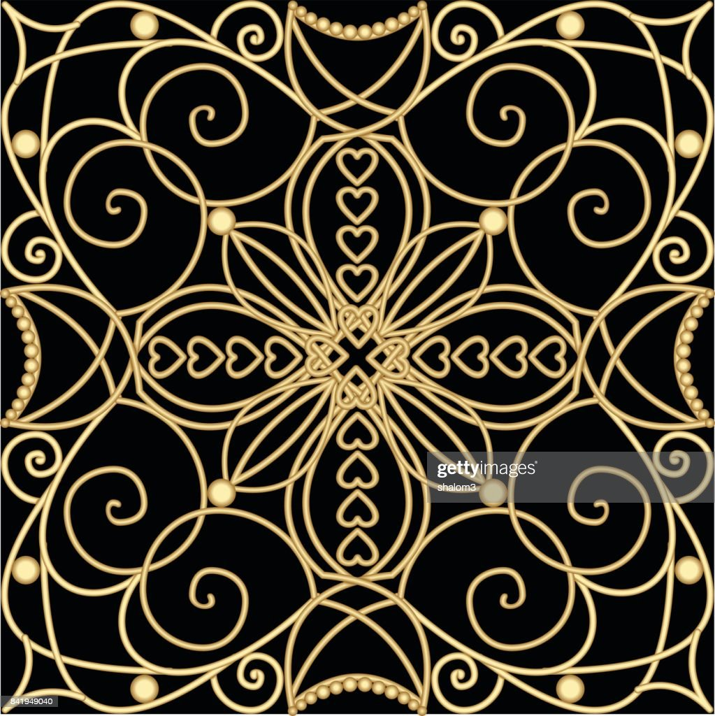 Filigranen Sie Goldenen Ornament Fliesen Im Art Deco Stil