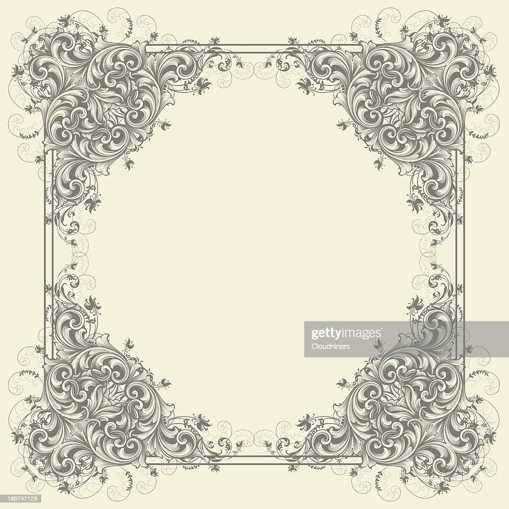 Filigree Scroll Frame Vector Art   Getty Images
