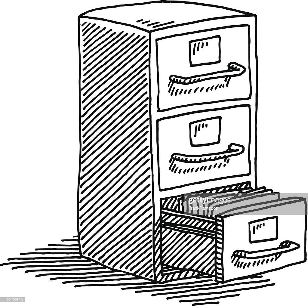 Filing Cabinet Drawing : Vector Art