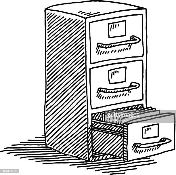 filing cabinet drawing - filing cabinet stock illustrations, clip art, cartoons, & icons