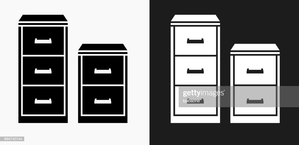 Filing Cabinet Icon on Black and White Vector Backgrounds  Vector Art  sc 1 st  Getty Images & Filing Cabinet Icon On Black And White Vector Backgrounds Vector Art ...