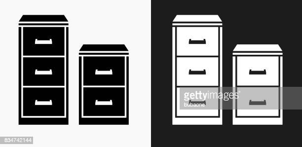 filing cabinet icon on black and white vector backgrounds - filing cabinet stock illustrations, clip art, cartoons, & icons