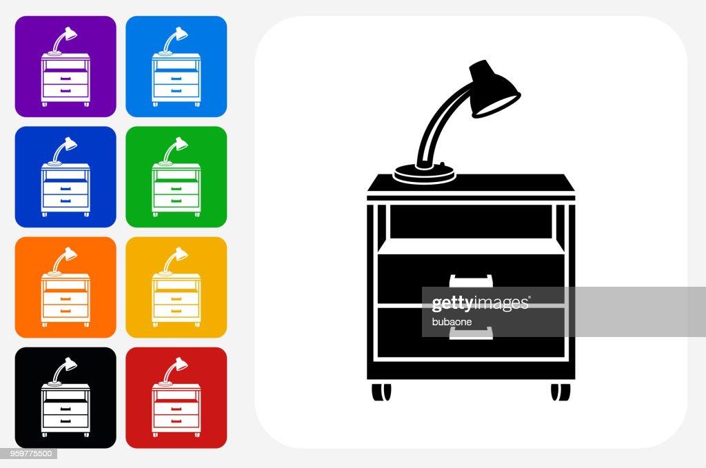 Filing Cabinet Symbol Square Buttonset : Stock-Illustration