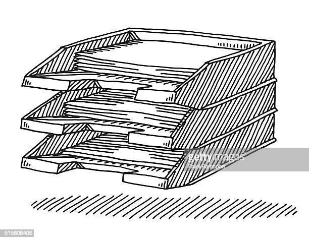 filing tray drawing - inbox filing tray stock illustrations