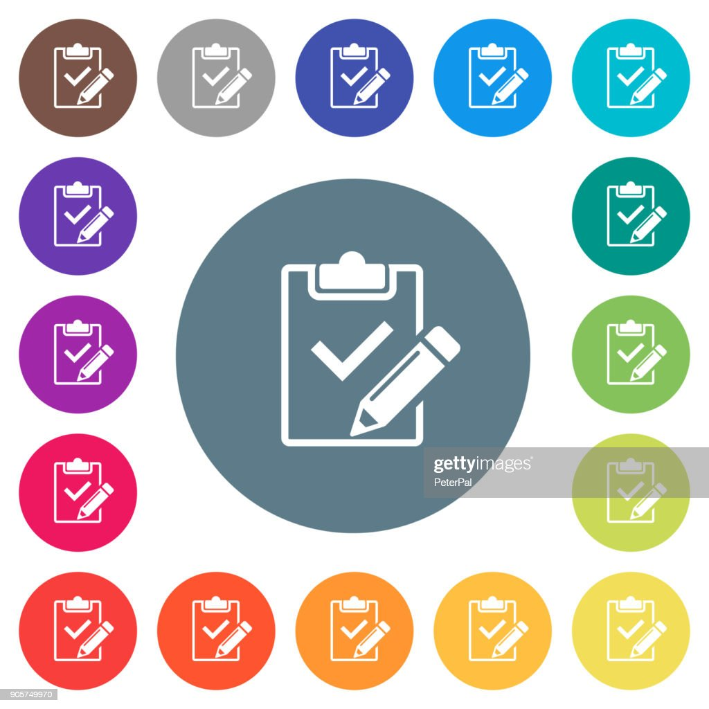 Fill out checklist flat white icons on round color backgrounds