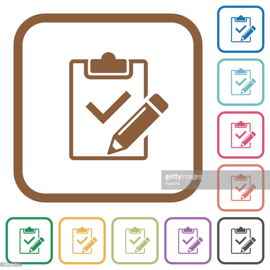 Fill out checklist simple icons