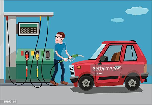 fill up of gasoline - fuel station stock illustrations, clip art, cartoons, & icons