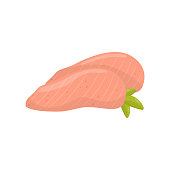 Fillet of chicken breast, healthy food vector Illustration on a white background