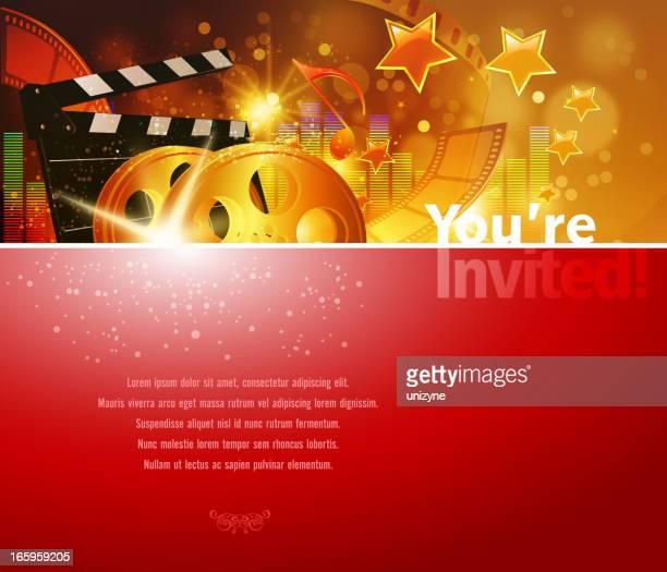 ilustraciones, imágenes clip art, dibujos animados e iconos de stock de fondo de cine y espectáculos - film festival