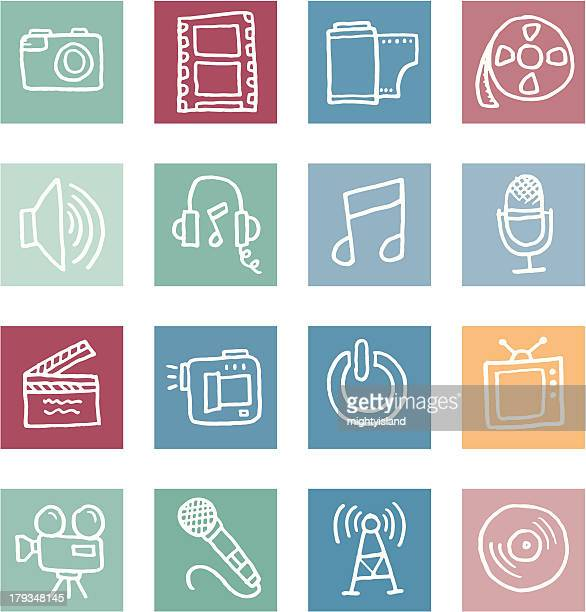 Film and media block icon set